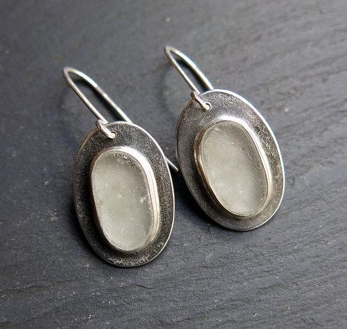 Amanda Rawling white glass and silver earrings