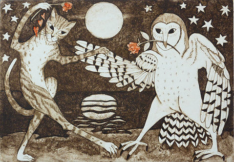 """Victoria Keeble collagraph"""" They Danced by the Light of the Moon"""""""