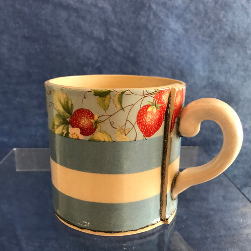 Virginia Graham blue stripe & Strawberries mug
