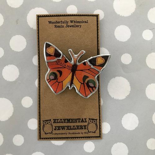 Ellymental resin butterfly brooch