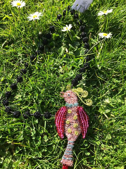 Jo Dewar pink exotic bird necklace