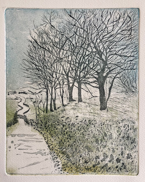 Annabelle Oppenheimer 'Winter on the Winding Road' etching