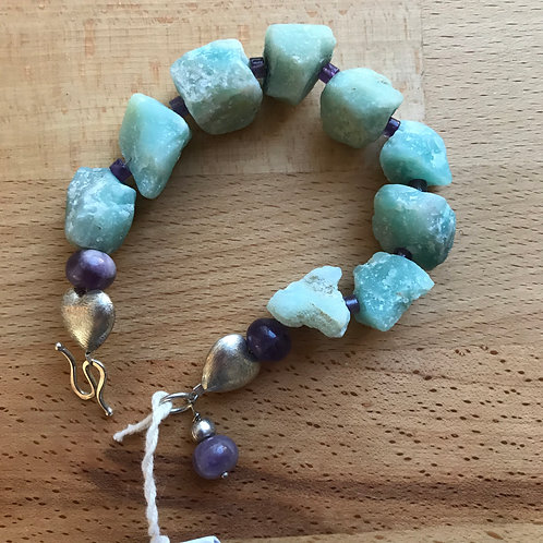 Julia Mathias amazonite and amethyst bracelet