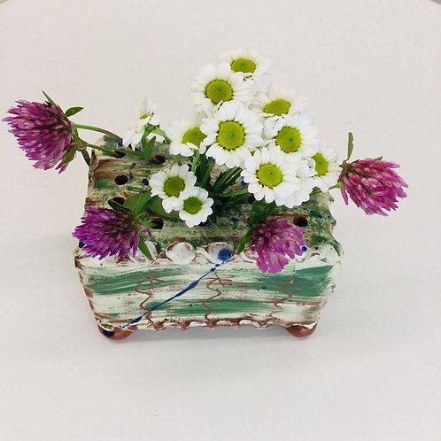 Sarah Monk ceramic flower brick in brushed green