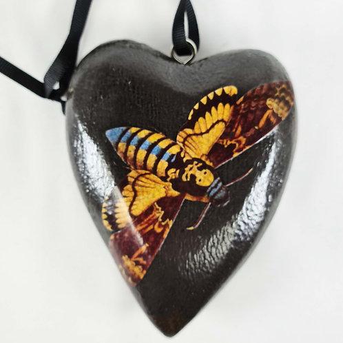 Jo Verity decoupage Deaths Head Hawk Moth heart
