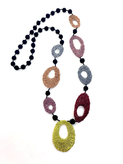 Jo Dewar woven wire necklace with oval shapes