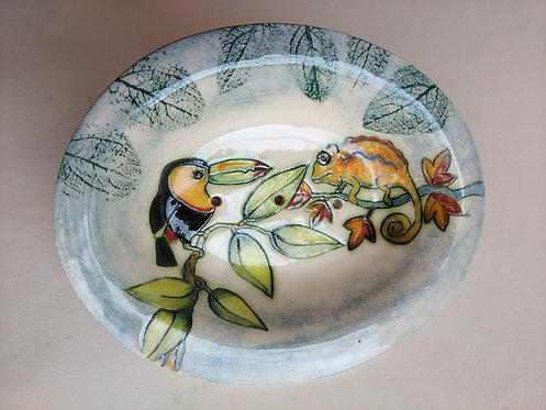 JeanneJackson toucan and chameleon soap dish