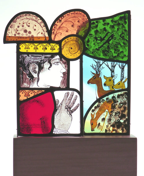 "Frans Wesselman ""Queen Counting her Deer"" stained glass panel on plinth"