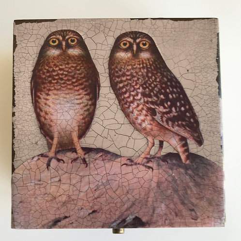 Jo Verity wooden boxed with decoupage owls
