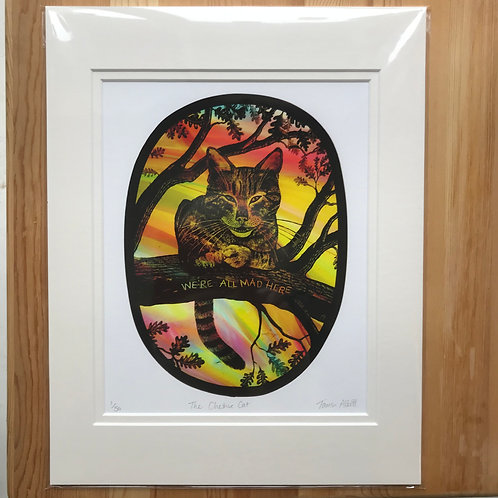 """Tamsin Abbott """" The Cheshire Cat"""" limited edition print"""