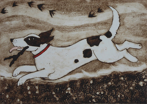 Victoria Keeble ' Catch Me If You Can' collagraph