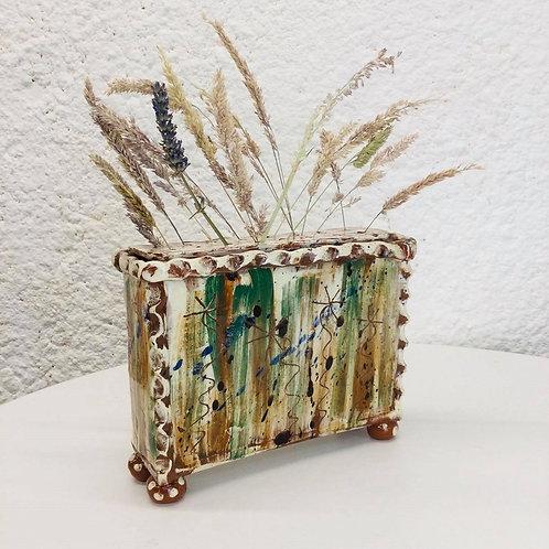 Sarah Monk ceramic slab flower brick with removable lid