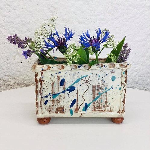 Sarah Monk ceramic rectangular slab vase