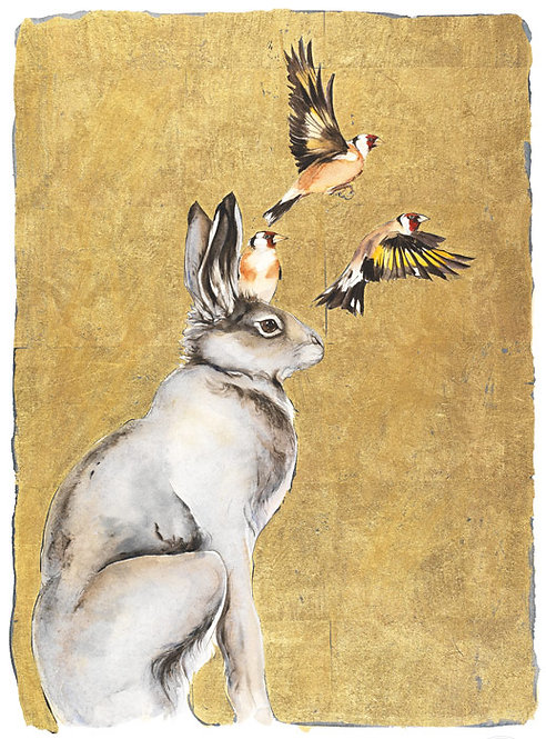 "Jackie Morris limited edition print "" Hare and Goldfinches"""
