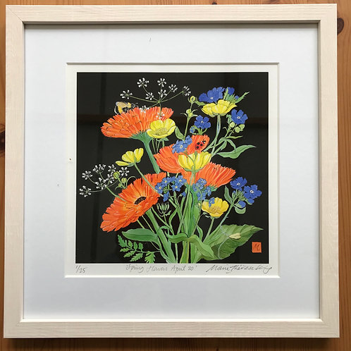 "Marie Therese Kings limited edition framed print "" Spring Flowers April 2020"""