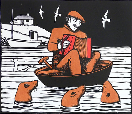 "Frans Wesselman woodcut "" Music to the Seals"""