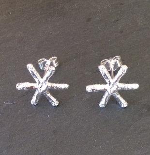 Carol Brook Silverfish tiny snowflake studs