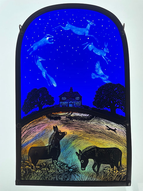 """Tamsin Abbott stained glass panel """" Puck and Bottom"""""""