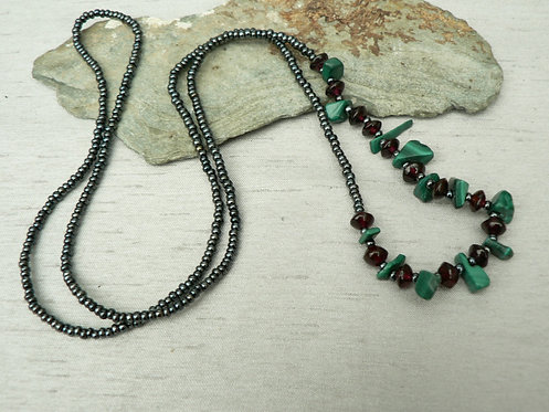 Sam Hemming malachite chip and garnet bead necklace