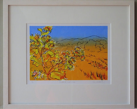 "Tia Lambert "" Burdock and Hills"" framed screen print"