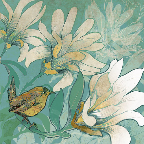 "Shelly Perkins "" WREN WITH MAGNOLIA"""