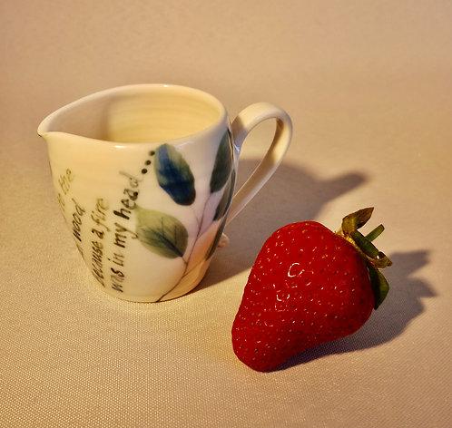 Carey Moon porcelain cream jug with poem