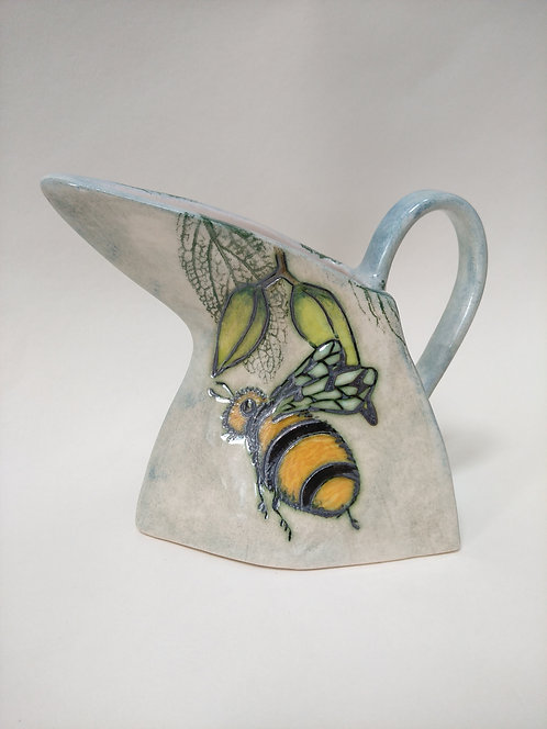 Jeanne Jackson bee & dragonfly jug with triangular spout