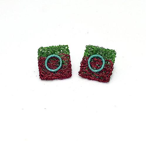Jo Dewar green/wine square stud earrings