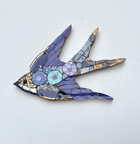 Emily Lawlor vintage china mosaic swallow'Tansy'