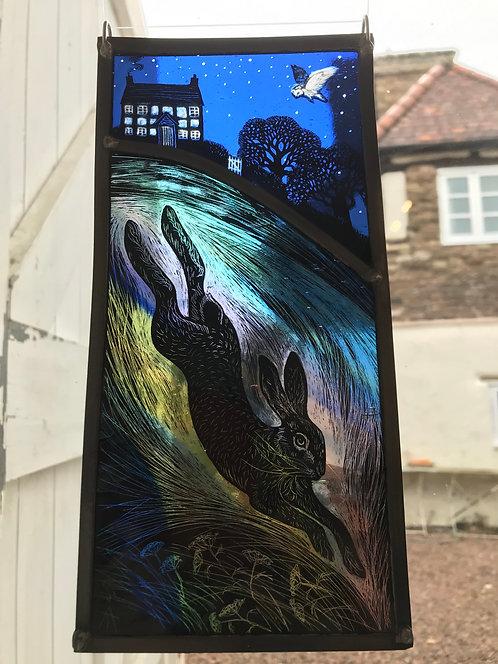 "Tamsin Abbott "" Midnight Diving Hare"" glass panel"