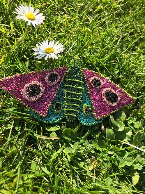 Jo Dewar pink/turquoise butterfly brooch