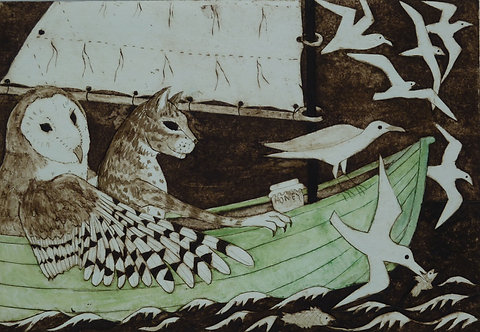 """Victoria Keeble """"They sailed Away for a Year and a Day"""" collagraph"""