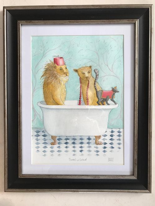 Rae Stevens original framed watercolour - Crowd