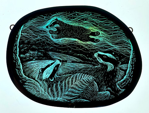 """Tamsin Abbott stained etched glass panel :""""In the Land of the Badger"""""""