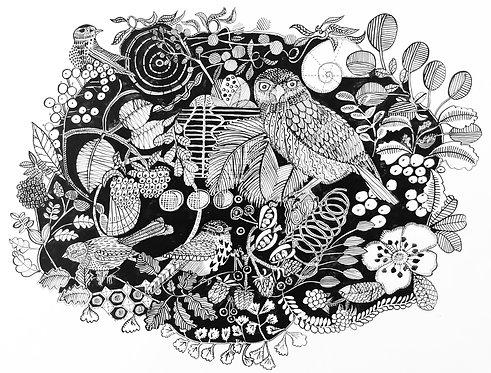 Jeanette McCulloch 'Dusk Birds' Indian ink