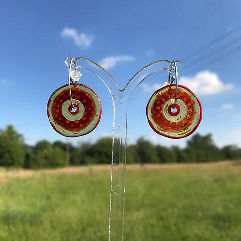 Penny Carter Pippin handmade  glass earrings orange /yellow