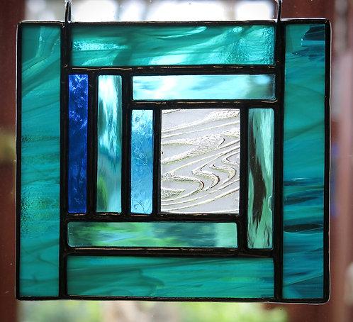 "Amanda Rawling ""River"" , Tiffany etched glass panel"
