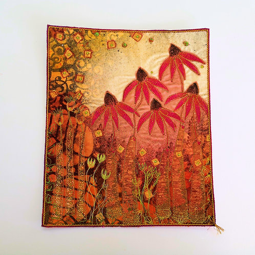 """Angie Hughes embroidery/mixed media """"Golden Prairie'"""