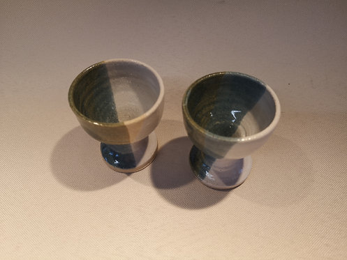 Carey Moon pair of stoneware egg cups