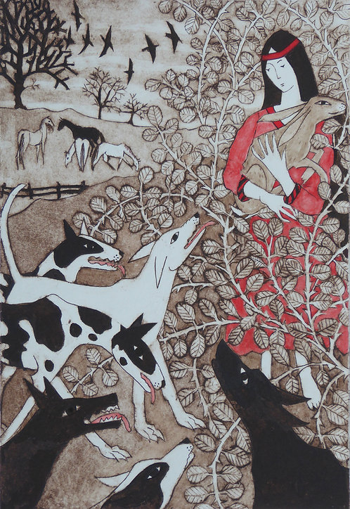"""Victoria Keeble collagraph """" St Melangell and the Hare"""""""