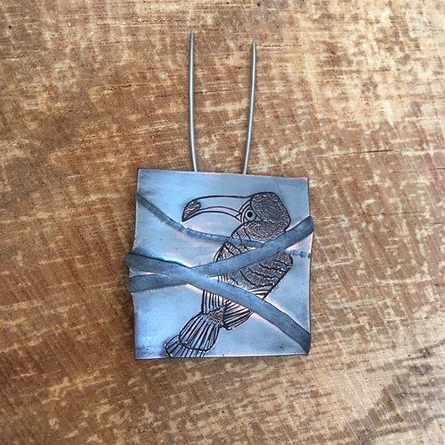 Clare de la Torre copper toucan brooch