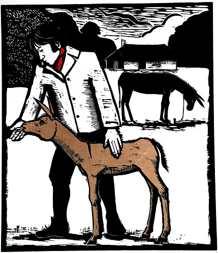 "Frans Wesselman woodcut "" Mr Coleridge, Poet , and a Young Ass"""