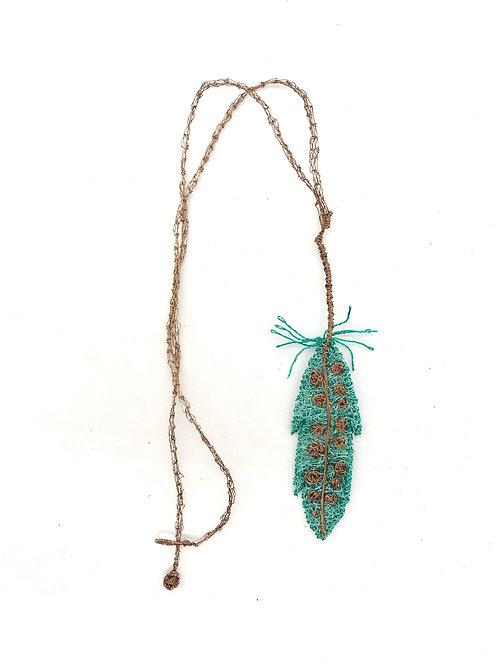 Jo Dewar aqua feather necklace
