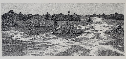 "Kenji Lim original dip  pen& ink ""Islands"""