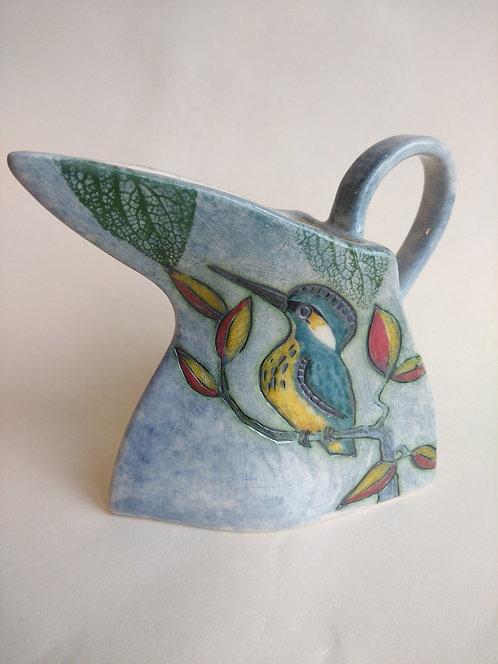 Jeanne Jackson kingfisher and blue tit jug