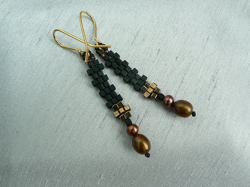 Sam Hemming black and gold bead and fresh water pearl earrings