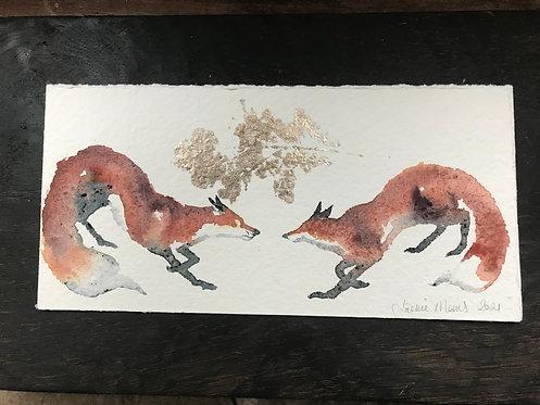 Jackie Morris Two Foxes original painting