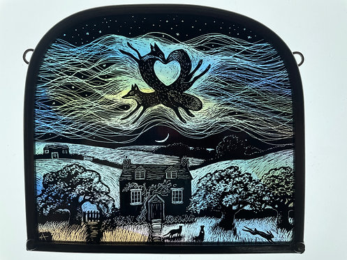 """Tamsin Abbott stained glass panel """" When the Veil is Thin"""""""