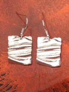 Carol Brook Silverfish square ribbon drop earrings
