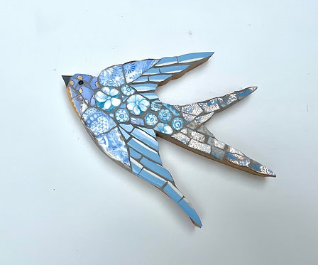 Emily Lawlor vintage mosaic china swallow 'Forget-me-Not'